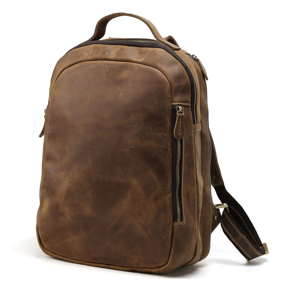 TIDING 14 laptop backpack boy school bag genuine leather book bag casual rucksack day pack 3072 ferrino o hare day pack