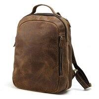 TIDING 14 laptop backpack boy school bag genuine leather book bag casual rucksack day pack 3072