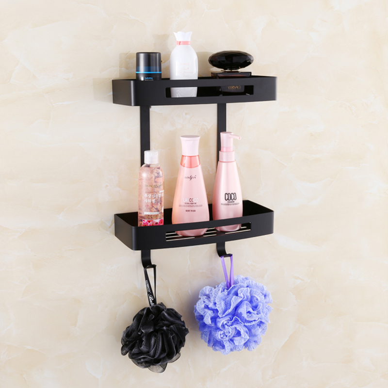 Vidric 304 Stainless Steel Bathroom Corner Shelf Two Layers Shower Room Rack For Body Wash Bottle Wall Mounted Black Shelves