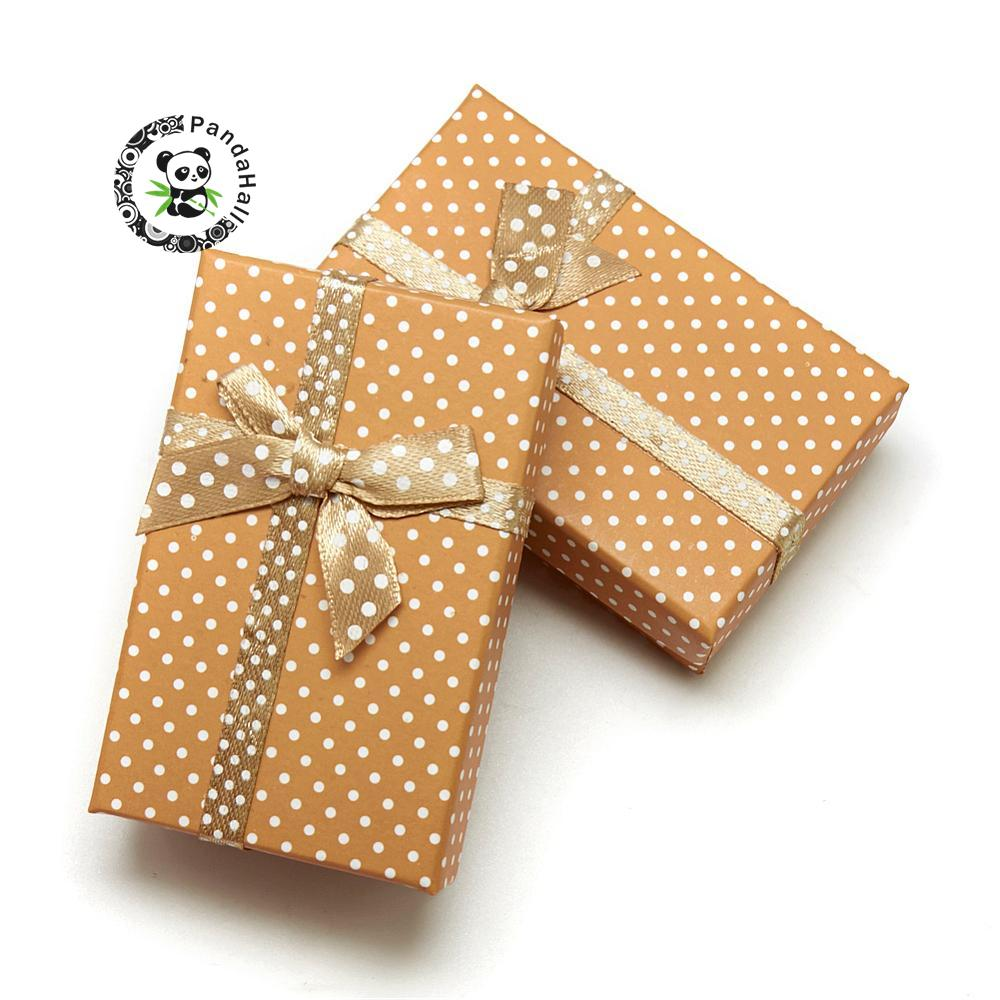 Cardboard Necklace Boxes With Bowknot And Sponge Inside, For Necklaces And Pendants, Rectangle, Peru, 80x50x25mm Superior (In) Quality