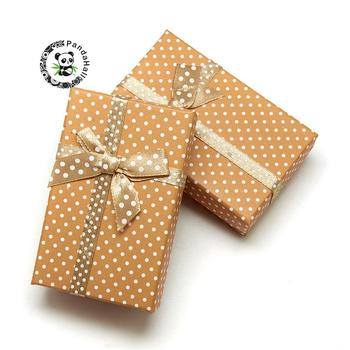 Cardboard Necklace Boxes with Bowknot and Sponge Inside, for Necklaces and Pendants, Rectangle, Peru, 80x50x25mm
