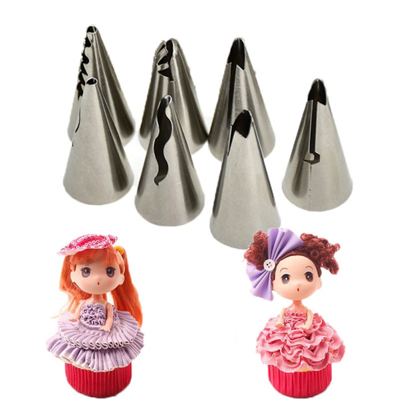 New 7pcsset Wedding Cake Nozzles Pastry Puff Skirt Icing Piping Nozzles Pastry Decorating Tips Cake Tool