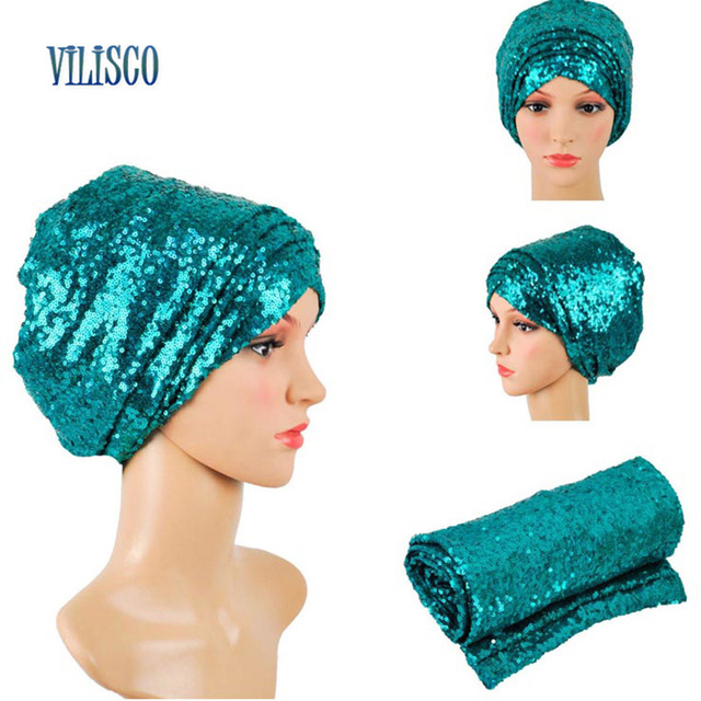 Multi-colored Headwear Sequin Turban African Headwrap African Headties Sego Gele Head Tie for Women Party Winter Headscarf XH05 2