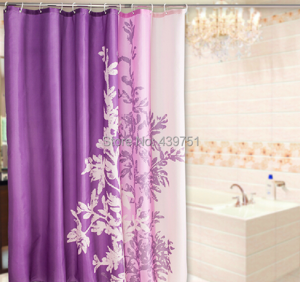 2014 Hot Sale Christmas Gift Bathroom Curtain Purple Shower Curtains Anti Rust Waterproof Polyester Cortina Kitchen