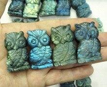 1Pc Perfect NATURAL Pretty Labradorite Quartz Crystal Carved Owl Animal Healing