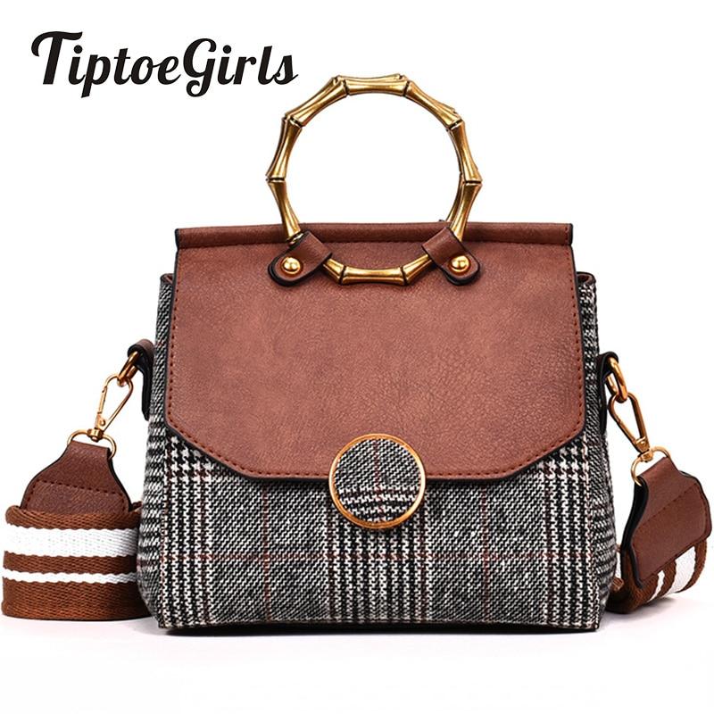 New Autumn and Winter Tide Korean Version of the Bag Wide Shoulder Strap Large Capacity Shoulder Bag Fashion Plaid Messenger Bag