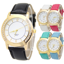 New Women's Lady Rhinestone Round Golden Case Dress Watch Faux Leather Strap 181 G6TN C2K5W