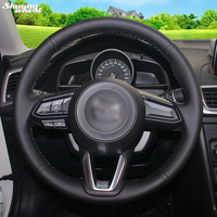 Shining wheat Hand stitched Black Leather Steering Wheel Cover for Mazda 3 CX 5 2017 Mazda CX 9 2016 2017