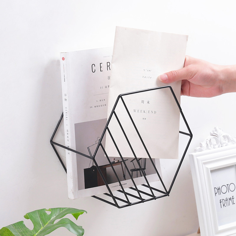 1Pc Nordic Stripe Book Magazine Wall Hanging Shelf Rack Hexagon Metal Wall Rack Iron Flo ...