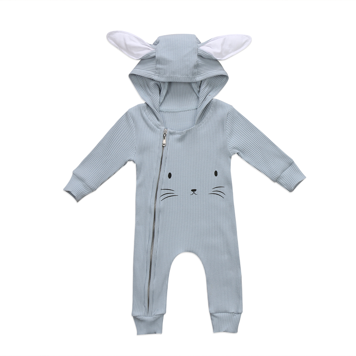 Pudcoco Newborn Kids Baby Girls Boys Ears Hooded Romper Zipper Knitted Jumpsuit Cute Animal Long Sleeve Clothes One-Piece pudcoco newborn infant baby girls clothes short sleeve floral romper headband summer cute cotton one piece clothes