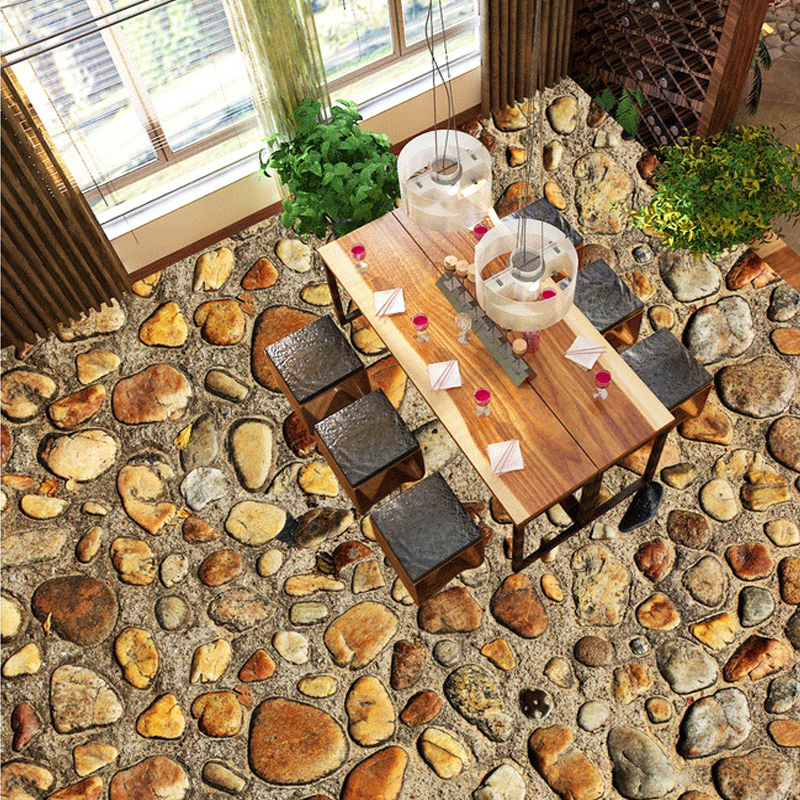 Custom Flooring PVC Self-adhesive Floor Mural Wallpaper Waterproof Stone Pebbles Living Room Bathroom Floor Sticker Wallpaper 3D high quality 3d flooring custom photo wall mural pebbles carp 3d floor murals wallpapers 3d floor tiles nature wallpapers