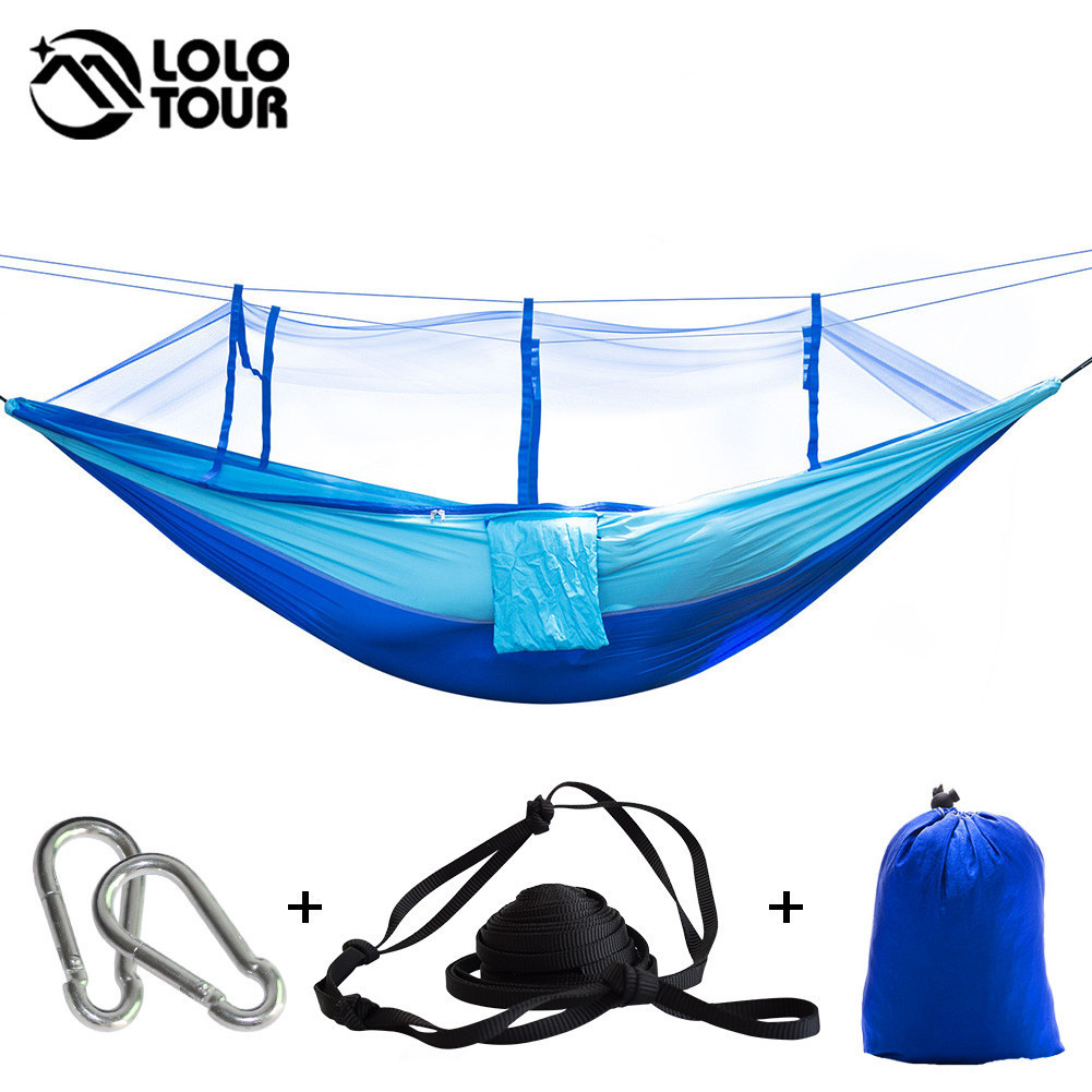 210T Nylon Fabric Netting Hammock High Strenght Portable Hamac Can Fold Into Pouch Mosquito Net Hamak Single Perosn Hanging Bed waterproof ip44 industrial plug socket connector 3 pin 4 pin 5 pin 16a 32a male female docking aviation plug