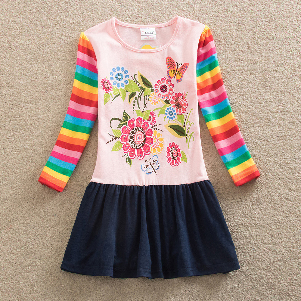 kids girl dress long sleeve rainbow colourful cotton spring autumn floral weekend girl vestidos children weekend causal clothes