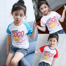 2017 new summer girl in the children of fresh and colorful match color fashion children's children's T-shirt