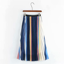 Hchenli Brand 2018 Women Stripe Skirts Fashion Pleated Colorful Skirts Contrast Color Bottom contrast stripe knot tee