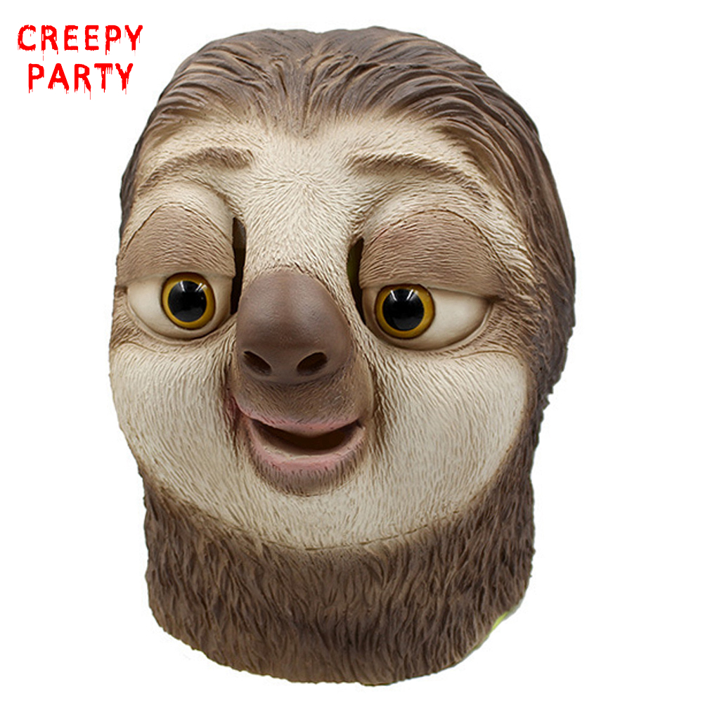 Realistico Zootopia Sloth Maschera in lattice Film Protagonista Flash Testa piena Maschera animale Halloween Fancy Dress Party Cosplay Mask