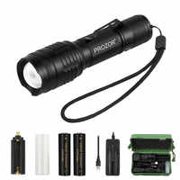 5000LM Adjustable 7 Modes T6 Zoomable LED Flashlight Portable Torch light Searching Lamp + 2x18650 battery + charger