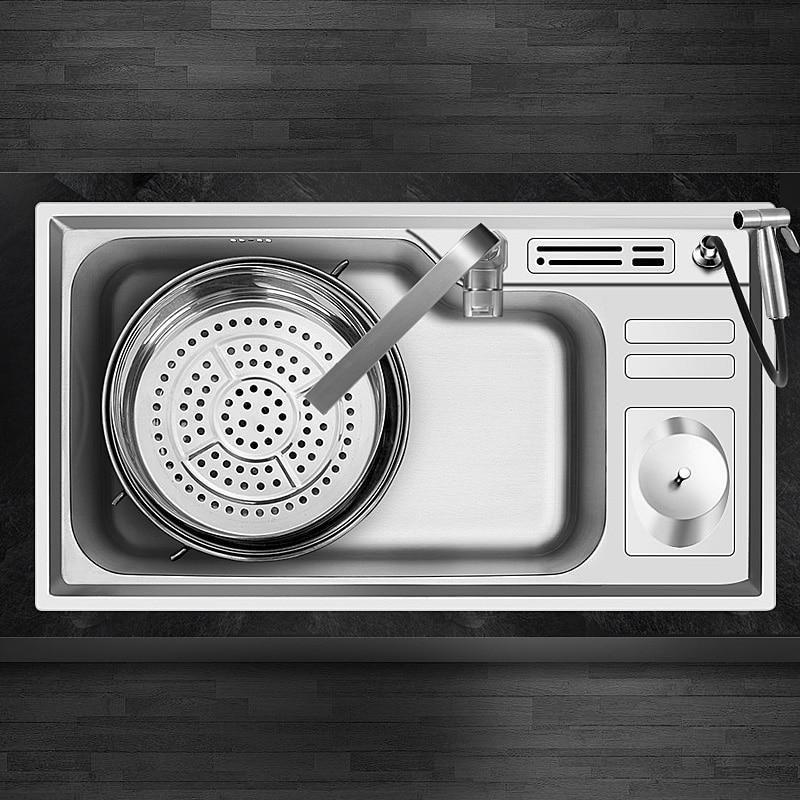 304 acier inoxydable nano cuisine évier dessin grand bol unique fente bassins paquets prendre poubelle reste étang - 3