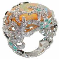 Anillo de ópalo de fuego naranja anillo de cristal de estrella de mar de diamantes de imitación azul para mujeres boda océano fiesta joyería de lujo Anillos Mujer O3X999