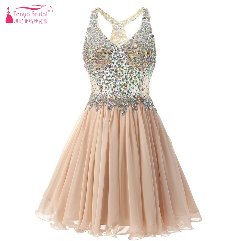 TANYA Sexy A Line Chiffon Bling Bling Crystal Cocktail Dresses Illusion Body Short Mini Homecoming Dress Gown JQ275