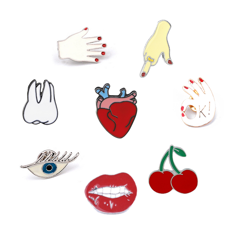 Cute Cartoon brooch For Women Lips Hand Teeth Heart Evil Eyes Cherry Lapel Pin Badge Shirt Jackets Enamel Hijab Men Jewelry image