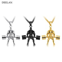 DEELAN Brand Weightlifting Pendant Men Necklaces Barbell Dumbbell Accessories Charm Sporty Style Stainless Steel Long Chain Male
