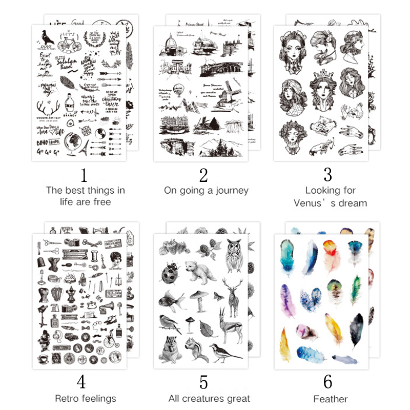2 PCS/Set Transfer Scrapbook Stickers Album Diary