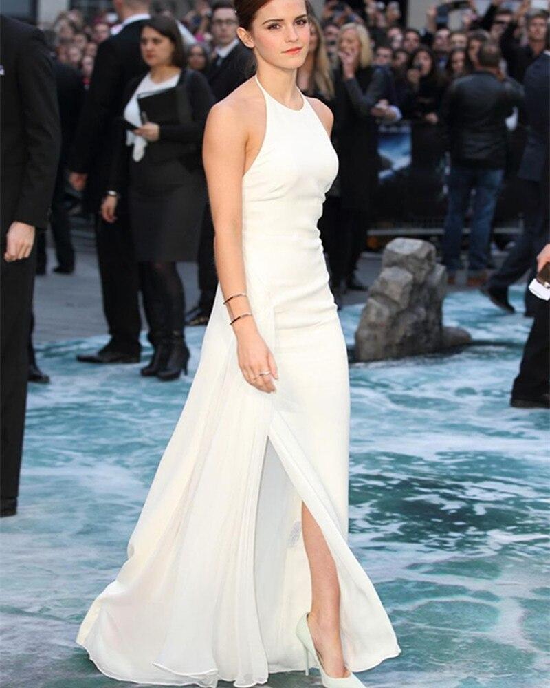 2016 white halter Emma Watson red carpet celebrity dresses