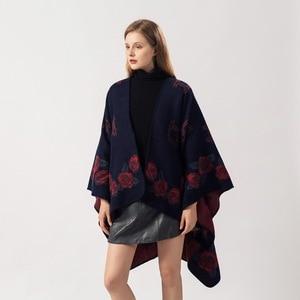 Image 3 - 2019 frauen Outwear Winter Schals Herbst Kaschmir Ponchos Decke Damen Stricken Schal Cape Cashmere Schal Poncho Dame Pashmina
