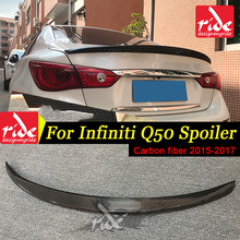 Q50 Rear Spoiler Wing Lip For Infiniti Q50S Carbon Fiber Trunk U.S.A Style Tail Lid Boot 2015-17