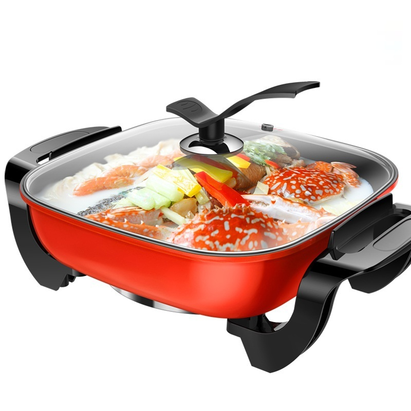 DMWD 5L Electric Skillet and Electric Frying Pan For Boiling/Steaming/Stewing/Braising