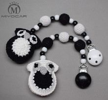 MIYOCAR handmade wood clip black white Crochet owl stroller toy chain for pram mobile rattle wooden bead crochet