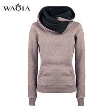 Европейской и американской моды личности с лацканами Для женщин Худи с капюшоном Пуловеры Sweatershirt однотонные теплые Флисовые толстовки пальто S-XL