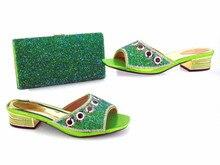 Fashionable lemon women sandals with big crystal for african shoes match green handbag set dress V10-2