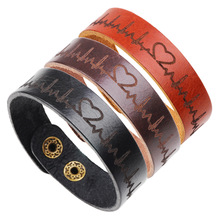 LOULEUR Gothic Heart Electrocardiogram Wristband Couple Bracelet Ethnic Lovers Brown Leather Wide Bracelets Valentines Day