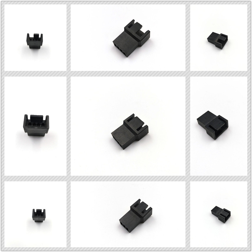 2.54mm Pitch Spacing Fan 3Pin 4Pin Female Connector Housing With Terminals