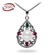 SNH100 % Natural Perla Colgante Para Las Mujeres colorido Collar de Perlas de Agua Dulce de La Joyería
