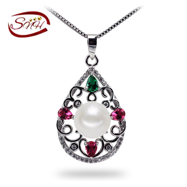 SNH100% Natural Pearl Pendant For Women Necklace colorful Freshwater Pearl Jewelry