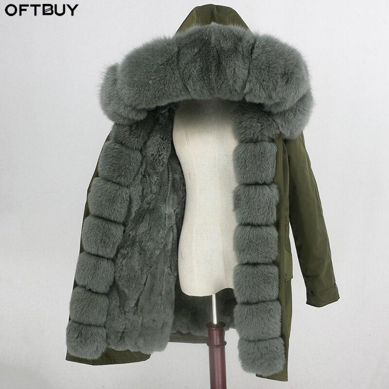 OFTBUY Long Parka Waterproof Outerwear Real Fur Coat Natural Raccoon Fox Fur Collar Hood Rabbit Fur Liner Thick Warm Streetwear