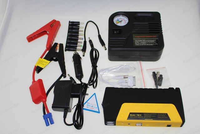 hot sell 12v Portable mini jump starter 10000mAh car jumper with pump 2USB booster power battery charger mobile phone laptop