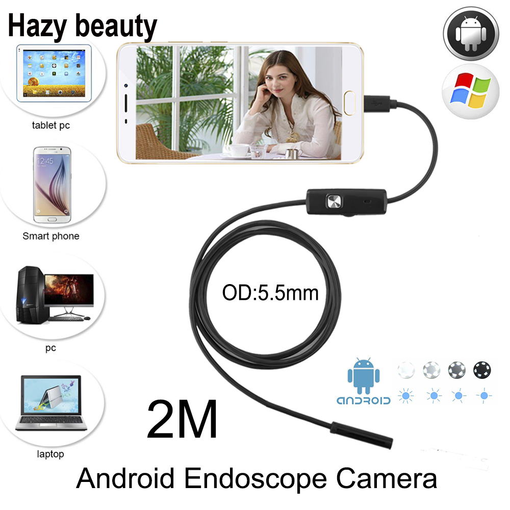 Hazy beauty 5.5mm Lens Android OTG USB Endoscope Camera 2M Smart Android Phone USB Borescope Inspection Snake Tube Camera 6LED gakaki 7mm lens usb endoscope borescope android camera 2m waterproof inspection snake tube for android phone borescope camera