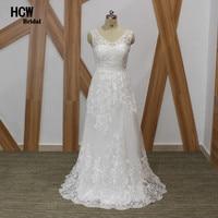 Elegant Lace Wedding Dress V Neck Sleeveless Soft Tull Lace A Line Long Beach Bridal Gowns