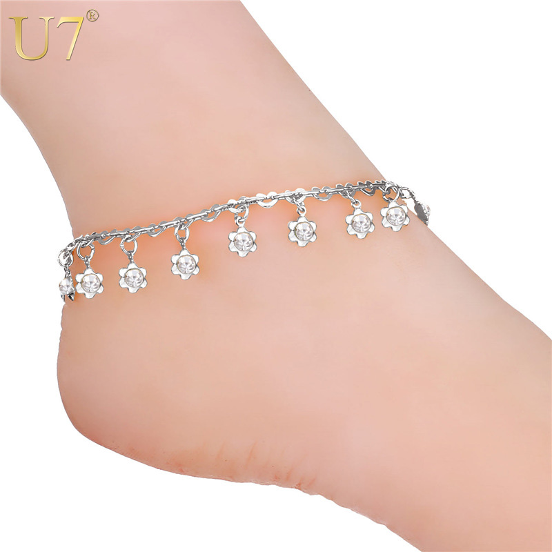 U7 Trendy Crystal Anklet Bracelet On A Leg Foot Jewelry Rhinestone Flower Anklet Bracelets For Women A323 2017 deep v neck women dress sexy plus size red blue summer clothes for pregnant women short sleeve evening dresses m 6xl sale