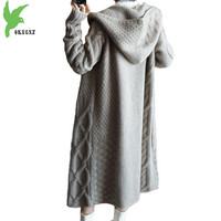 2018 New Autumn Winter women cashmere textile knit Cardigan thick sweater Plus size Hooded long woolen sweater coat female 2185