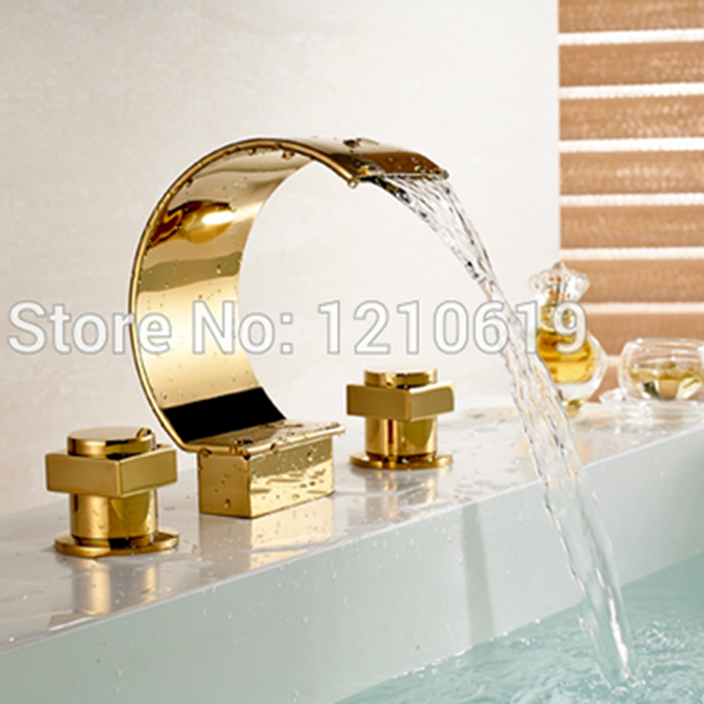 Newly US Free Shipping Deck Mounted Golden Polished Bathroom Luxury Tub Faucet Set Arc-shape Spout 3Pcs Dual Handles Three Holes luxury deck mounted golden polish batub faucet double handles swan spout hot