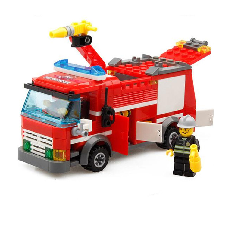 KAZI 206pcs Fire Truck Building Blocks Firefighter Toys Bricks city Educational DIY Bricks toys kazi fire department station fire truck helicopter building blocks toy bricks model brinquedos toys for kids 6 ages 774pcs 8051