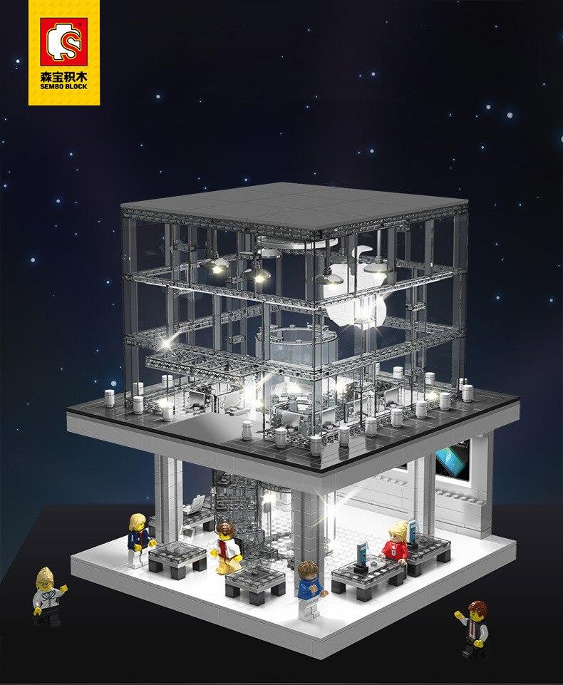Senbo 6900 tienda insignia de Apple con conjunto de luz ciudad calle bloques de construcción juguetes para niños Legoings City-in Bloques from Juguetes y pasatiempos    2