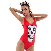 Nuevo diseño del cráneo sexy bañadores mujeres traje de baño Bikinis una pieza backless rojo beachwear bodysuit Bañeras traje brasileño monokini