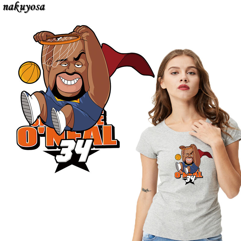 5pcs Personality cartoon basketball ONeal Iron On T-shirt A-level Washable Stickers Clothes DIY Printing Christmas Gift