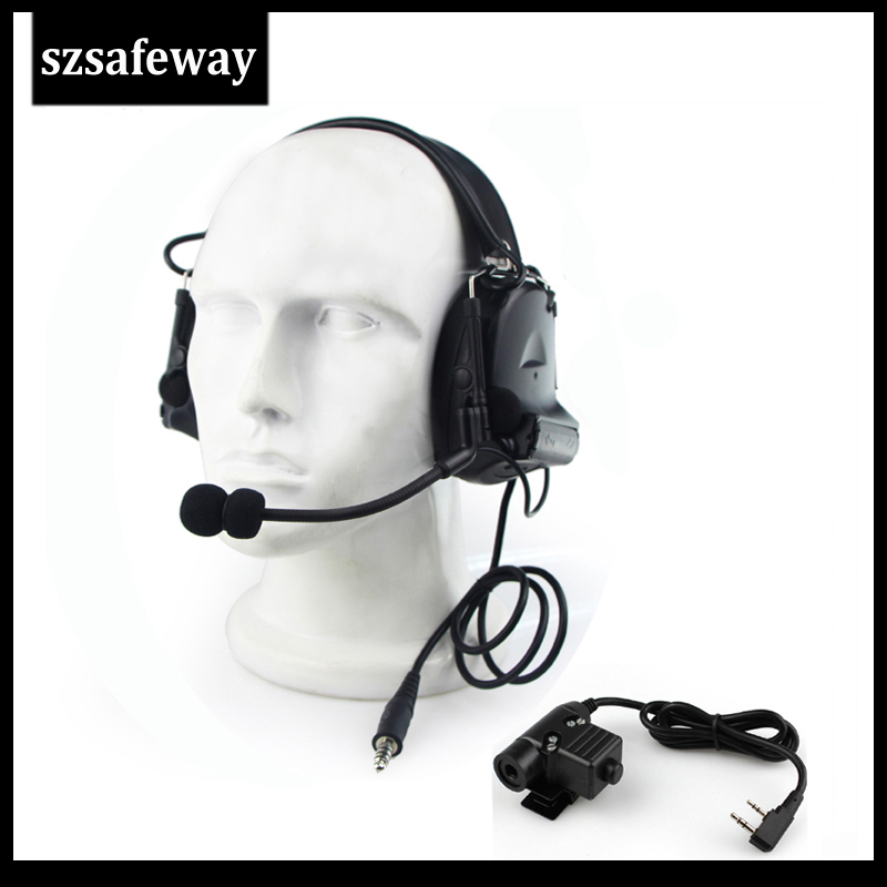 High Quality Tactical Headset Noise Reduction Canceling Headphone Electronic Sound Pickup Comtac II For Kenwood Baofeng UV-5R